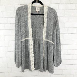 Knox Rose Gray & White Cardigan with Lace Trim and Balloon Sleeves Large